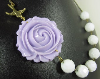 Lavender White Flower Necklace, Brass Sparrow, Oversized Flower, Violet Rose, White Beads - 0141