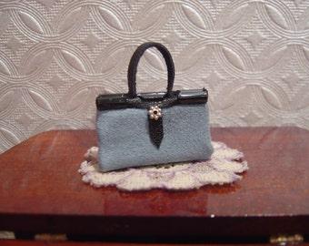 Dollhouse handbag purse blue suede 1:12 scale full scale