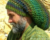 Warm, Woolly Dread Hat, Earthy Shades of Green and Plum