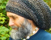 Warm, Woolly Dread Hat Charcoal Black, Deep Teal, and Chestnut