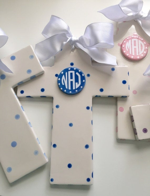 Monogrammed Cross, Personalized Baptism cross, First Communion cross, Confirmation cross, Family cross, hand painted ceramic cross