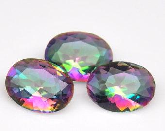 3 Piece Superior Natural Genuine Gemstone Oval Mystic Rainbow Quartz - Free shipping