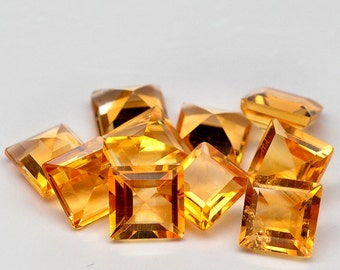 10 Pcs. Spectagular Genuine Gemstone Square Golden Yellow Citrine - Free shipping