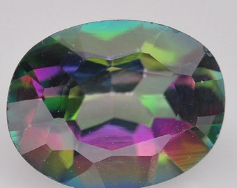 1.55 Ct. Amazing Genuine Gemstone Oval Rainbows Color Mystic Topaz Brazil - Free shipping