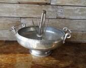 Vintage Nut Cracker Bowl Hand Forged Wrought Aluminum Metal Floral Pattern