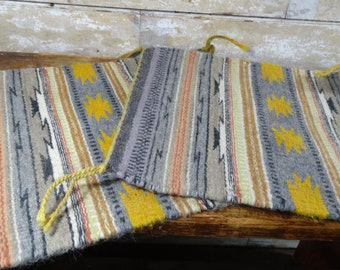Vintage Wool Place Mats or Wall Piece Set of 2