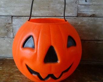 Vintage Trick or Treat Pumpkin Halloween Pail Adorable 1980s or 70's Medium Size