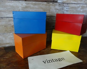 Vintage Retro Metal File or Recipe Box 1 of 4 Boxes Primary Colors