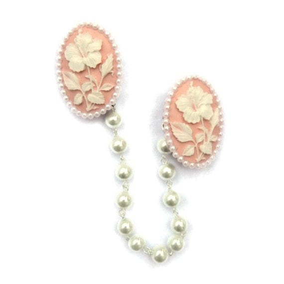 Vintage Style Jewelry, Retro Jewelry Floral Cameo Sweater Clip - Pink and White Hibiscus and White Pearls - Retro Rockabilly Pinup -Cardigan Clip - Sweater Guard - Sweater Clasp $14.00 AT vintagedancer.com