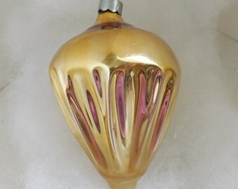 Vintage 1930s gold Shiny Brite glass Christmas ornament, mercury glass ornament, parachute ornament, fancy shape ornament