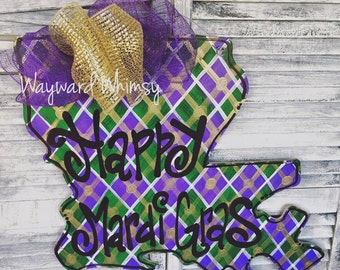 Mardi Gras State of Louisiana - STATE of LA Custom for you  Wood Cut Out Door Hanger