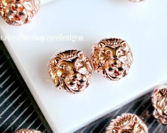7% off, 10p Rose gold tone beads, Lionhead Metal Beads, Metal connector beads - 10mm