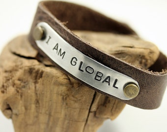 I Am Global - Leather Cuff Bracelet Mixed Metal
