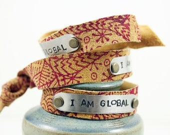 I Am Global - Leather Cuff Bracelet Mixed Metal - Patterned