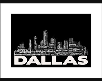 Dallas Skyline 2 - Word Art Typography Black and White - Typographical Print Poster