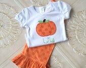 Thanksgiving Outfit, Pumpkin Outfit, Ruffle Pants, Toddler Outfit, Baby Girl, Personalized Shirt, Boutique Clothing