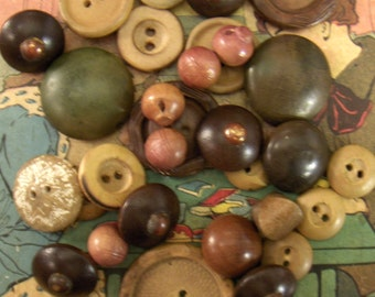 Vintage Wooden Buttons - Mixed Lot of 30 Wood Buttons
