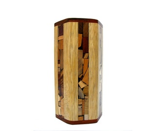 Wooden Vase w/ Glass Liner and Mosaics - Large Wooden Vase - Wood Mosaics - Table Accessories