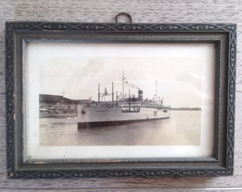 Antique Framed Naval Postcard