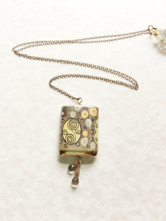 Gold Porcelain Pendant Necklace