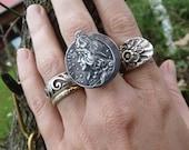 Art Nouveau Adjustable Ring, La Nuit, Lady Night, by RusticGypsyCreations