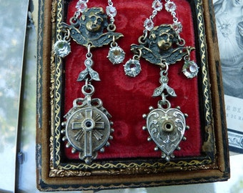 Antique French Religious Stanhope Medal Earrings, Ex Votos for the Passionate, by RusticGypsyCreations