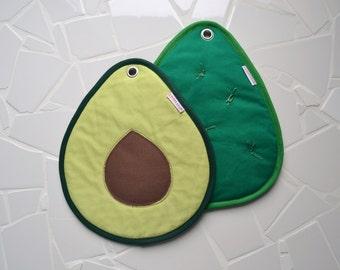 avocado slice and cactus potholders - green guacamole hot pad - green cactus hostess gift - fun foodie present green avocado slice and cacti
