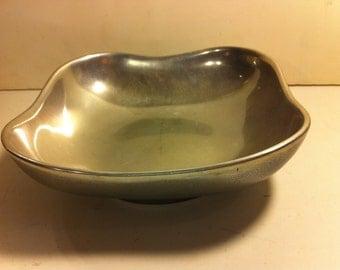 Vintage Square Pewter Bowl