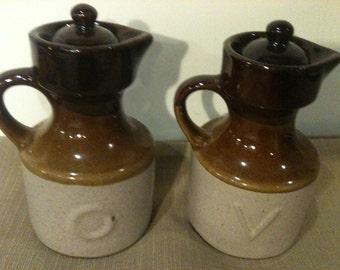 Vintage Oil and Vinegar Crock Set