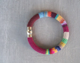 Multicolored Bangle, Crochet Tube Bangle Magnetic Bracelet, Thick Tube Bangle