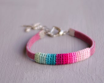 Thin Best Friend Bracelet, Friendship Bracelet, Bright Pink-Green Women's Bracelet, Suede and Crochet Bracelet with Dragonfly Charm