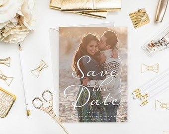 Save the Date Announcement -  wedding Engagement Photo Marriage 5x7 - professionally printed photo cards
