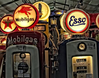 Poster Wall Decor Vintage Retro Antique Gas Pumps