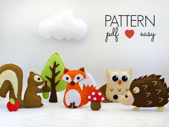 Felt Woodland Stuffed Animal Sewing Patterns DIY by ...