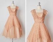 ON LAYAWAY // vintage 1950s dress / 50s lace dress / peach lace dress / La Rochelle dress