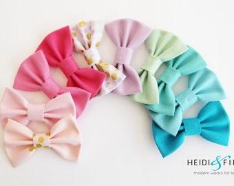 Mermaid pastels Hairbow SET of 10 Hairclip cotton pink purple gold aqua hairband