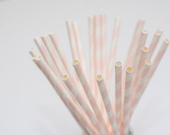 20 paper straws light rose stripes