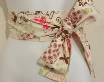Kimono Obi Belt Sash One Size Tan & Brown