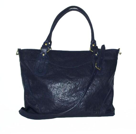 Dark Blue Leather Tote - Leather Handbag - Cross-body Bag Nora Bis XL
