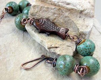 Fish bracelet fish jewelry fish clay jewelry rustic copper bracelet copper jewelry earthy jewelry