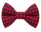 "Cat Bow Tie - ""The Lumberjack"" - Red Buffalo Plaid"