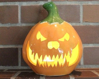 Wicked Ceramic Jack-o'-lantern in Orange, Yellow and Green Handmade