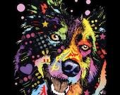 Border Collie Dog T Shirt WOMANS Short Sleeve Blacklight Top Neon Florescent Dog Print 20159NBT2