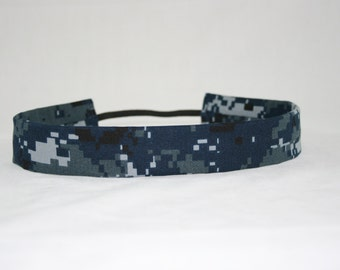 NWU Navy Baby Headband Military Blue Digital Camo