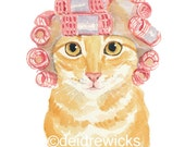 Cat Watercolour PRINT - Orange Tabby Cat Painting, Hair Curlers, Cat Illustration, 8x10 Print