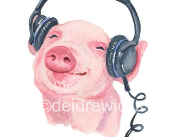 Pig Watercolor Painting - 5x7 PRINT, Nursery Art, Piglet Watercolour, Music Lover, Baby Pig