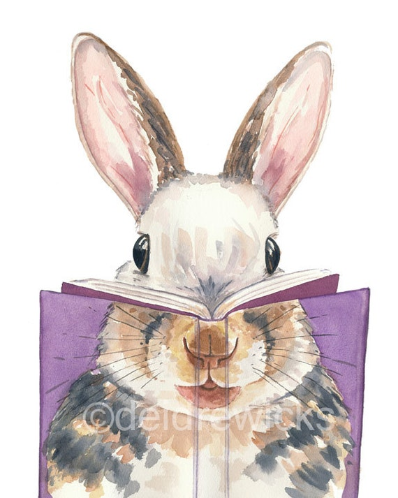 Book Cover Watercolor Artists : Rabbit watercolor painting print book cover art
