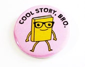 Book Pinback Buttons Cool Story Bro Geeky Glasses Nerdy Badges Purple Accessories