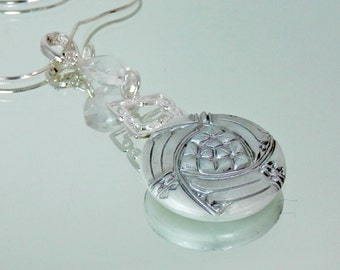 White and Silver Reproduction Vintage Glass Pendant With or Without Sterling Chain