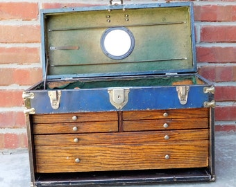 Vintage blue metal machinist tool box jewelry box tool chest with drawers industrial decor